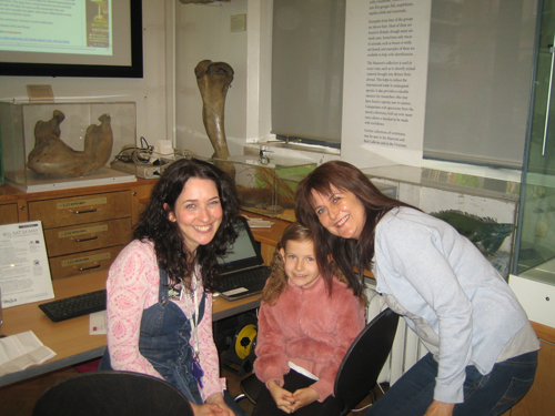 Me with daughter and mother after helping them to do the reptile finder quiz