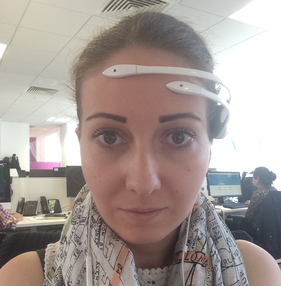 Jisc Futures Innovation Developer Suhad Al-Jundi testing the Emotiv Insight