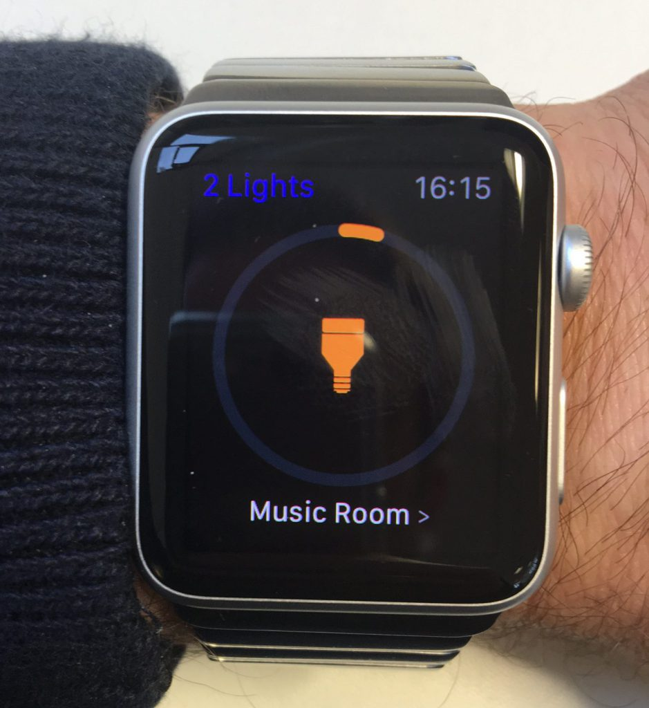 Apple Watch controlling connected lights in home